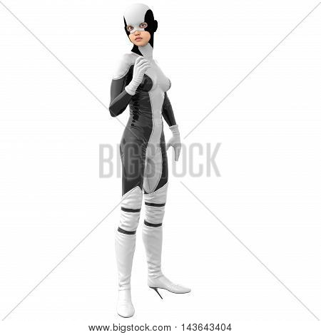 one slim girl in black and white superhero super suit. She stands half turned sideways to the camera. Her right hand in a pose of greeting. 3D rendering, 3D illustration