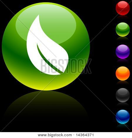 Ecology glossy icon. Vector illustration.