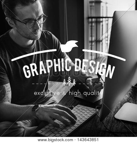 Graphic Designer Working Online Job Concept