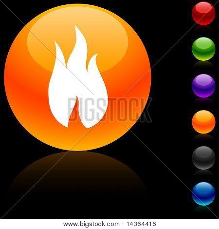 Fire glossy icon. Vector illustration.