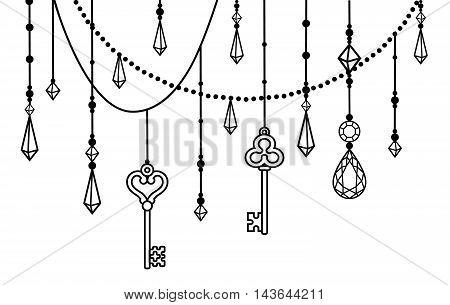 Tribal ethnic decorative element with beads and crystals