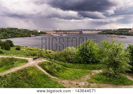 view of the Hydro power station on the island of Khortytsya Zaporozhye region Ukraine