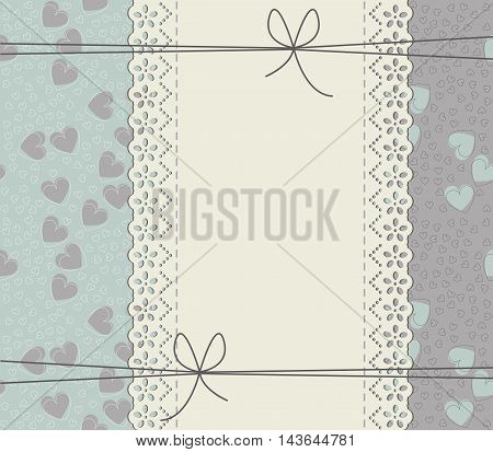 Elegant cover with lace frame elegant hearts and bows. Stylish frame can be used for wedding invitation ,Valentine's greeting card, baby shower card and more designs.