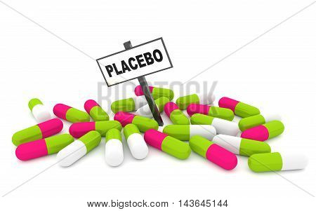 Placebo pills concept with pills isolated on white background. 3D rendering