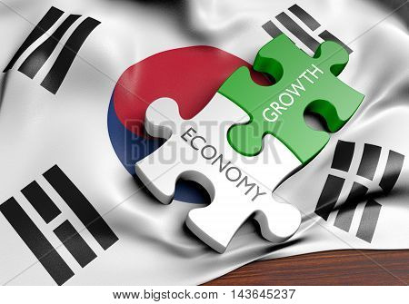 South Korea economy and financial market growth concept, 3D rendering