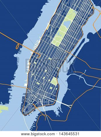 New York City - Lower and Mid Manhattan - Vector Map Blue