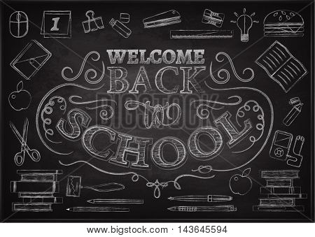 Welcome back to school background with stationery and books, vector illustration. Sale backdrop. White chalk lettering on blackboard.