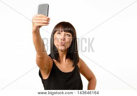 Seductive Woman Pouting While Taking A Selfie