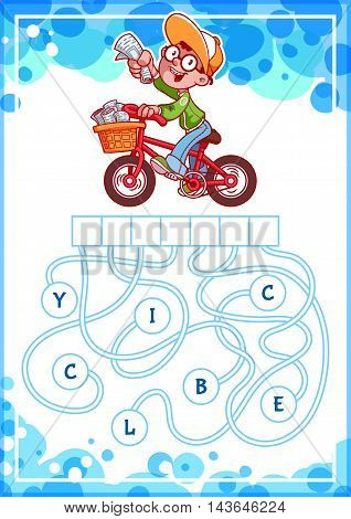 Educational puzzle game with boy on bike. Find the hidden word. Cartoon vector illustration.