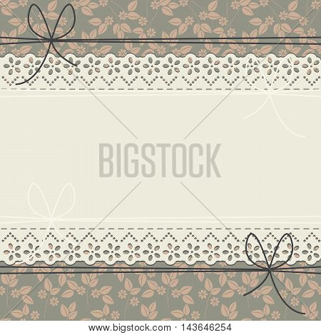 Elegant lace frame with stylish flowers and leaves can be used for wedding invitations, greeting cards, baby shower and more designs.
