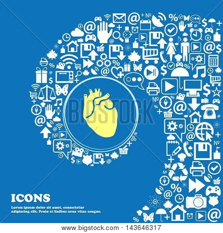 Human Heart Symbols. Nice Set Of Beautiful Icons Twisted Spiral Into The Center Of One Large Icon. V