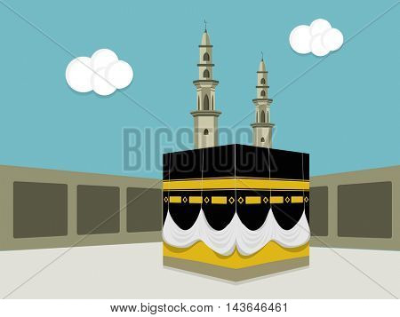 Illustration of Kaaba, Mekkah. Islamic sacred Masjid-Al-Haram, Vector flat design.