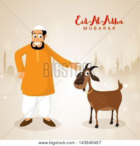 Illustration of Islamic Man in Traditional Outfit with Goat in front of Mosque Silhouette, Vector illustration for Muslim Community, Festival of Sacrifice, Eid-Al-Adha Mubarak.