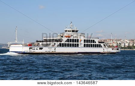 ISTANBUL TURKEY - JULY 25 2016: Istanbul Deniz Otobusleri ferry passing from European to Asian side of Istanbul. 18 ferries in 3 different types carry passengers and vehicles between Sirkeci and Harem.