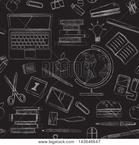 Vector illustration Back to school seamless pattern of kids doodles with stationery, books, computer and globe on blackboard. White chalk on black