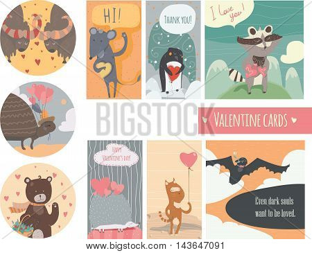 Valentine card set with fun animals with hearts and flowers smiling cute with closed and open eyes. Vector kind illustration isolated on white.