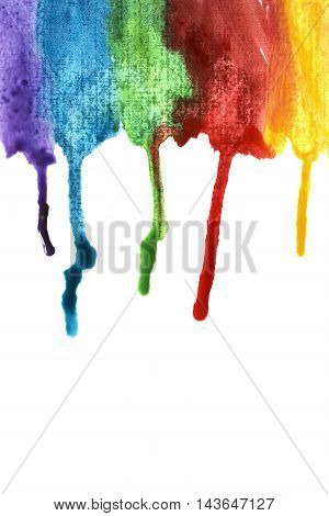 Colorful paint streaks isolated on white background