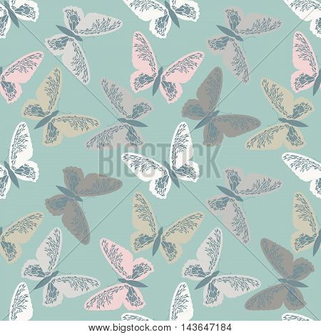 Elegant seamless pattern with cute butterflies. Seamless tracery can be used for printed table,cloths,   crafts ,linen ,tile and more creative designs.