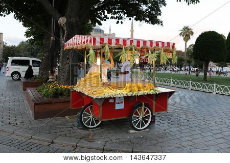ISTANBUL TURKEY - JULY 27 2016: Boiled corn seller in Sultanahmet Square. Boiled corn is one of the most populer peddler food in Turkey.