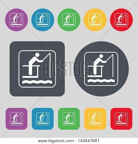 Fishing Icon Sign. A Set Of 12 Colored Buttons. Flat Design. Vector