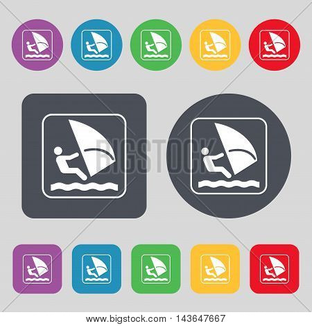 Windsurfing Icon Sign. A Set Of 12 Colored Buttons. Flat Design. Vector