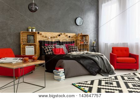 Concrete Wall In Bedroom