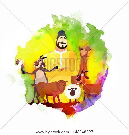Vector Butcher with Animals on colorful splash, Creative illustration for Muslim Community, Festival of Sacrifice, Eid-Al-Adha Mubarak.
