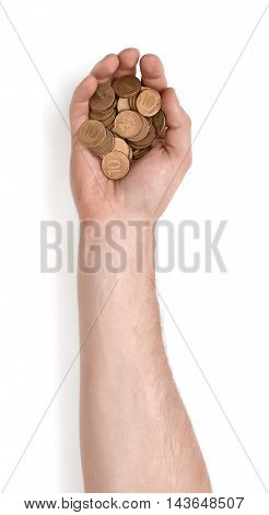 Close up view of a man's hand holding handful of rouble coins isolated on white background. Money and currency. Paying and buying.