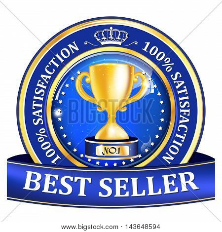 Best seller, Satisfaction Guaranteed - shiny blue label / icon with a golden champion cup.