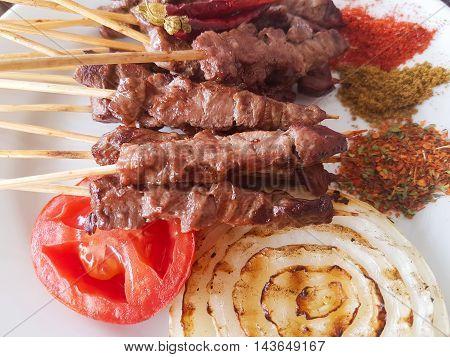 Turkish meal; gourmet delicacies, delicious Turkish kebab.