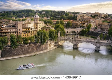 Rome city and tiber river near Vativcan Italy Europe