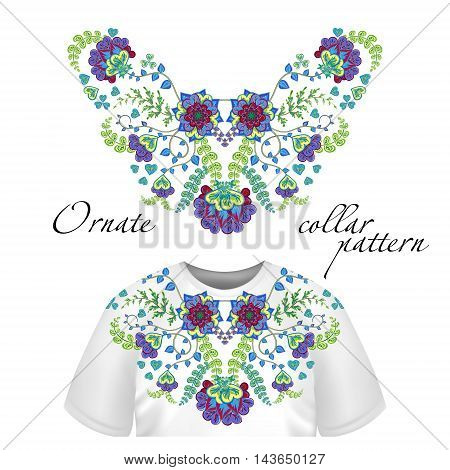 Vector design for collar shirts, shirts, blouses. Colorful ethnic flowers neck. Paisley decorative border. Ornate collar pattern. Greem purple blue.
