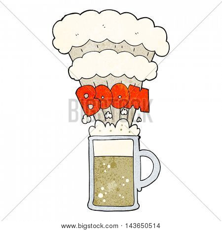 freehand textured cartoon exploding beer