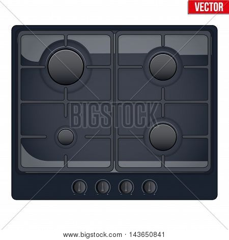 Surface of black gas hob. Top view of stove. Domestic equipment. Editable Vector illustration Isolated on white background.
