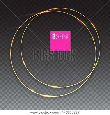 Sparkling golden glow rings, frame with light effect on transparent background. Spark with ring glossy line, abstract vector composition. Great backdrop for the wedding ceremony or invitation cards