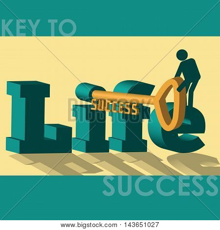 An effort in life is key to success. A man unlocking he key leading to success.