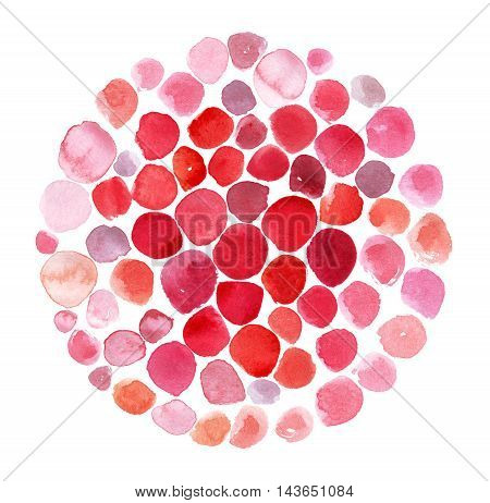 illustration template based on red and pink watercolor smears dots and brush daubs in circle. Mosaic round form isolated on white graphic stylish.