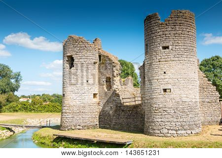 Ruins Of The Medieval Castle Of Commequiers