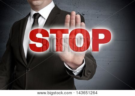 Handstop showed by businessman template picture concept