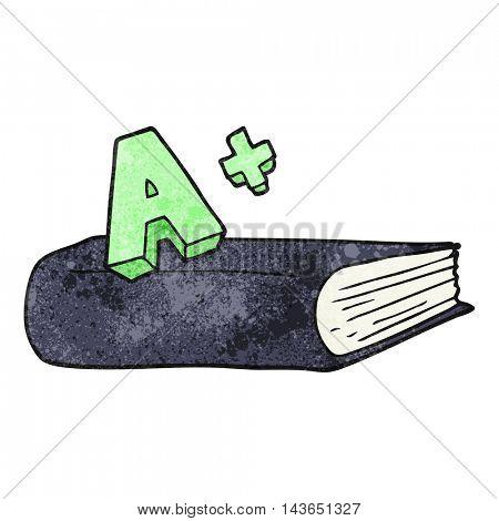 freehand textured cartoon A grade symbol and book