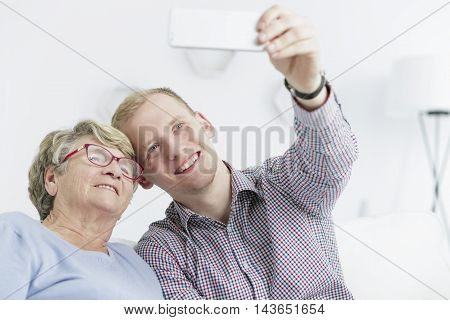 Selfie With His Grandma