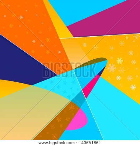 Bright abstract vector background with snowflakes. Modern graphic background in the style of comics pop art. Can be used for Christmas cards and any winter holidays