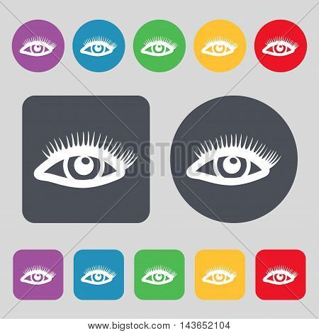 Eyelashes Icon Sign. A Set Of 12 Colored Buttons. Flat Design. Vector