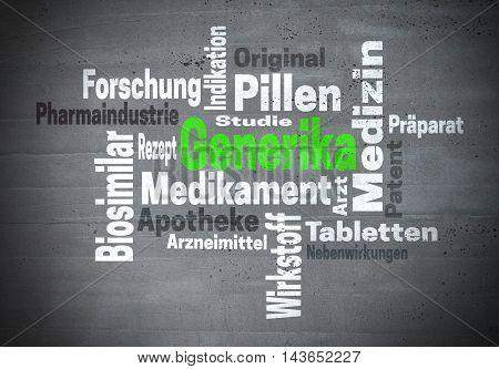 Generika (in german generic medicine) word cloud concept.
