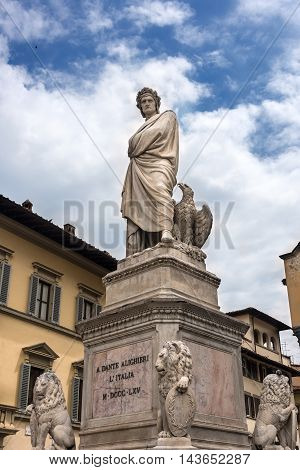 Statue of the historically famous Dante Alighieri in the Piazza Santa Croce in Florence Italy.