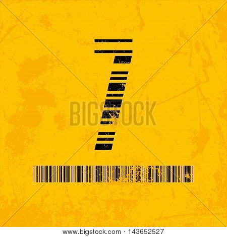 Stylish barcode typeface number seven. Stripped letters of barcode scanning. Custom font. Vector illustration