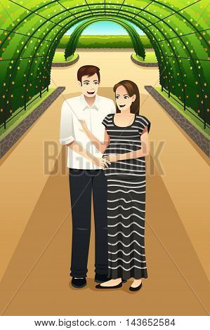 A vector illustration of happy pregnant couple walking in the city park