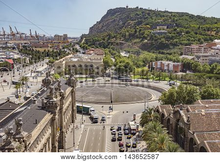 BARCELONA SPAIN - JULY 4 2016: Aerial view to Montjuic mountain from Christopher Columbus monument.