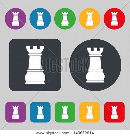 Chess Rook Icon Sign. A Set Of 12 Colored Buttons. Flat Design. Vector
