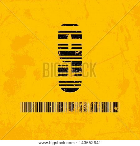 Stylish barcode typeface number nine. Stripped letters of barcode scanning. Custom font. Vector illustration